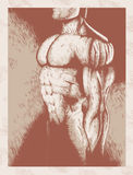 Sketch of muscle man Stock Photo
