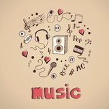 Sketch of music elements Royalty Free Stock Photos