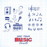 Sketch of music elements Stock Photos