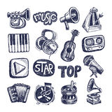 Sketch music icon element collection Stock Photo