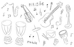 Sketch Music Instruments set Royalty Free Stock Photos