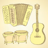 Sketch musical instrument in vintage style Stock Photography