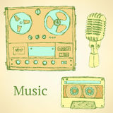 Sketch musical set in vintage style Royalty Free Stock Photo