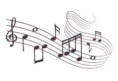 Sketch musical sound wave with music notes. Hand drawn vector illustration. Music note doodle and audio record Stock Photography