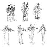 Sketch of musicians, orchestra Royalty Free Stock Photo