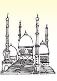 Sketch of Muslim mosque. Sketch of domed Muslin mosque, isolated on light background Stock Photos