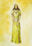 Sketch of mystical woman  in beautiful ornamental dress  inspired by middle age design. Stock Images