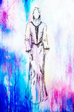 Sketch of mystical woman  in beautiful ornamental dress  inspired by middle age design, with color spots background. Royalty Free Stock Photo