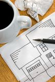 Sketch on a Napkin. An idea for a new home takes shape on a napkin as an inspiration Royalty Free Stock Images