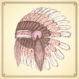 Sketch native american's hat in vintage style Royalty Free Stock Photo