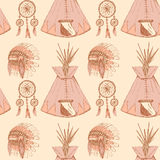 Sketch native american's symbols in vintage style Royalty Free Stock Images