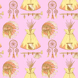 Sketch native american's symbols in vintage style Royalty Free Stock Image