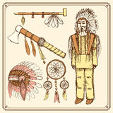 Sketch native american set in vintage style Royalty Free Stock Photography