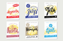Sketch Natural Cheese Brochures Royalty Free Stock Image