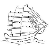 Sketch of nautical sailing vessel Royalty Free Stock Photo