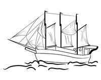 Sketch of nautical sailing vessel Stock Photography