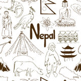 Sketch Nepal seamless pattern Royalty Free Stock Photo
