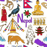 Sketch Nepal seamless pattern Stock Images