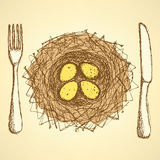 Sketch nest plate with fork and knife in vintage style Royalty Free Stock Photos