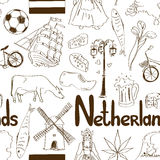 Sketch Netherlands seamless pattern Royalty Free Stock Images