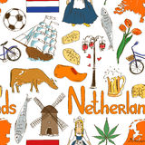 Sketch Netherlands seamless pattern royalty free illustration
