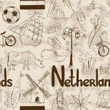 Sketch Netherlands seamless pattern Stock Photos
