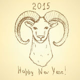 Sketch New Year ram in vintage style Royalty Free Stock Photos