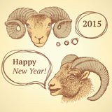 Sketch New Year ram in vintage style Stock Images