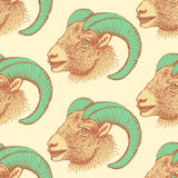 Sketch New Year ram in vintage style Royalty Free Stock Images