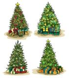 Box gifts under fir-tree at new year or xmas eve. Sketch New year trees with stars decorations and gifts in box. Merry christmas and xmas fir-tree at eve Stock Photos