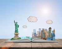 Sketch New York City and the Statue of Liberty over open book Stock Image