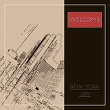 Graphic illustration with decorative architecture 71. Sketch of New York city. Vector illustration royalty free illustration