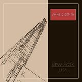 Graphic illustration with decorative architecture 74. Sketch of New York city. Vector illustration Stock Image