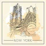 Graphic illustration with decorative architecture 84. Sketch of New York city. Vector illustration Stock Images