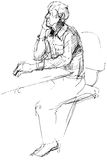 Sketch of not young man of being at a table Royalty Free Stock Photo