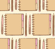 Sketch notebook, pen and pencil Royalty Free Stock Image