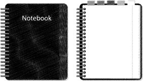 Sketch Notebook. Pencil style of Sketch Notebook in BW Royalty Free Stock Photography