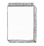 Sketch of notebook. Vector illustration with hand drawn leaf of notebook. Clip art Royalty Free Stock Photos