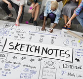 Sketch Notes Creative Drawing Design Graphic Concept. Creative Illustration Sketch Notes Concept stock photo