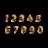 Sketch Numbers - golden color letters are made like a scribble. Vector concept collection of gold sketch fonts isolated on white b Stock Photography