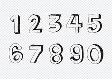 Sketch numbers 0-9 Stock Image