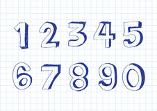 Sketch numbers 0-9 Stock Photography