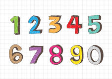 Sketch numbers 0-9 Stock Photo