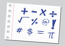 Sketch numbers and mathematics symbols Stock Photography