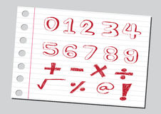 Sketch numbers and mathematics symbols Royalty Free Stock Photo