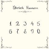 Sketch Numbers Vintage Style Collection Hand Drawn Stock Photos