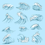 Sketch ocean waves. Hand drawn marine vector tides Royalty Free Stock Photos