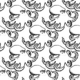 Sketch octopus, vector vintage seamless pattern Royalty Free Stock Images