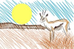 Sketch od a Stilyzed antelope  Stock Photography