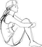 Sketch Of A Girl Sitting Hugging Her Knees Stock Images